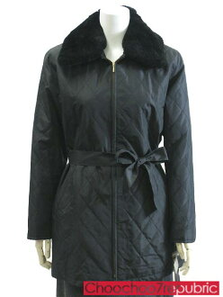 • Coat sizes-M/M half-black / black shiny fur with quilted belted 2way Womens outerwear #nonkt011-19-9AR