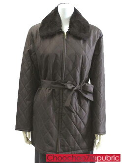 ◎ coat sizes-M/M half with Brown and Brown shiny fur quilted belted 2way Womens outerwear #nonkt011-42-9AR