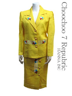 [choochoo7 ★ select ◎ suit Italy size-44 skirt yellow / yellow double floral embroidered ladies ' Setup-suit #m956-12-44