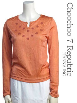 [SCOOP ★ scoop] [] Shirt size - M long-sleeved Orange / Orange Henry v-neck pullover floral Bijou Womens tops #sco82-93189-33-M