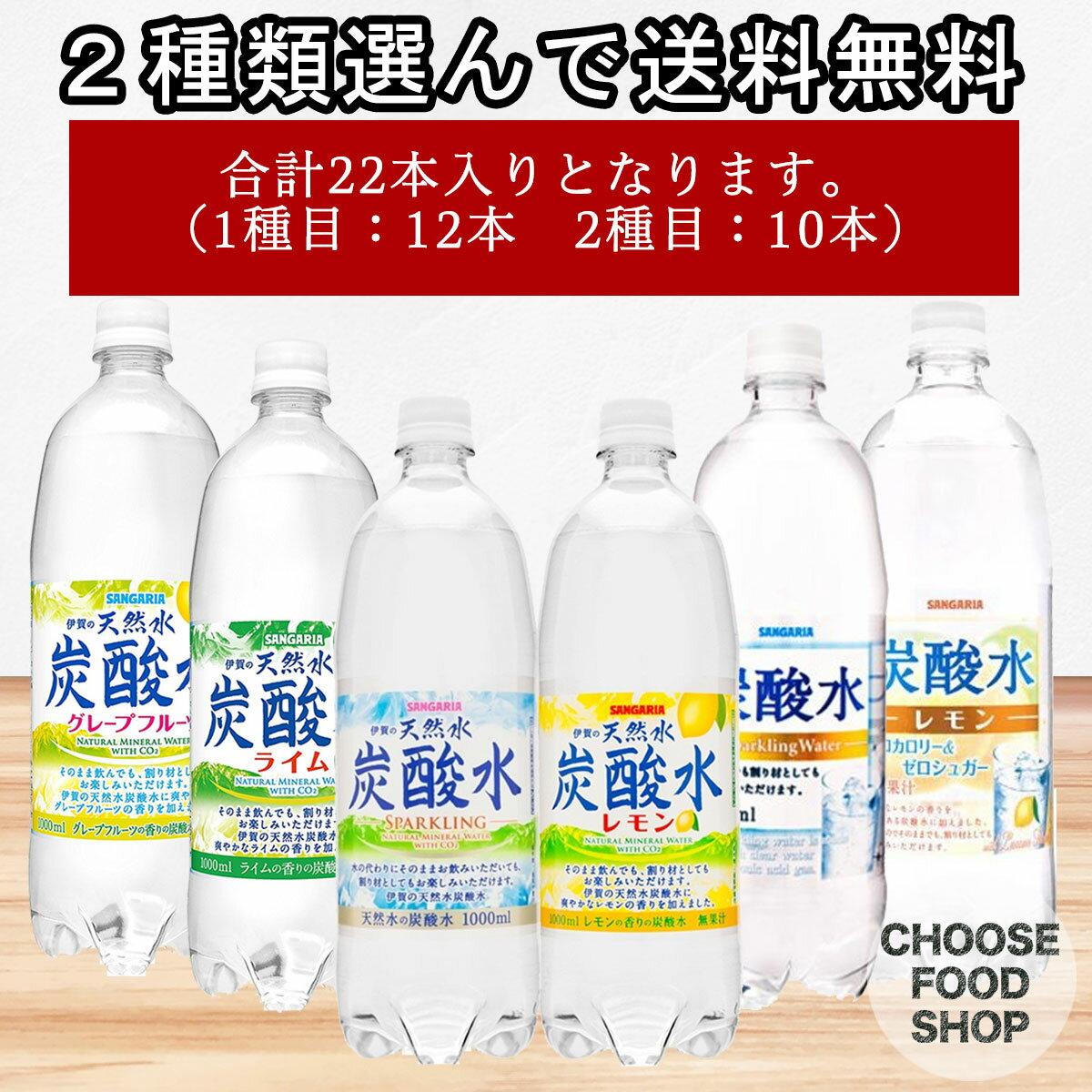 【6種類から2種(合計22本)選んで送料無料】天然水 炭酸水 1000ml (1L) まとめ買い [炭酸水/レモン/ライム/グレープフルーツ 組み合わせ自由】【スパークリング】