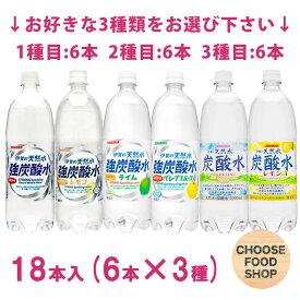 天然水 炭酸水・強炭酸水 3種(合計18本)選べる まとめ買い 1000ml(1L) (組合わせ自由) ペットボトル【スパークリング】
