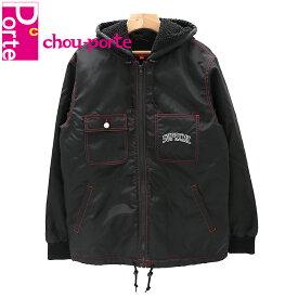 【中古極美品】 2018AW シュプリーム (Supreme) ボアジャケット Sherpa Lined Nylon Zip Up Jacket ナイロン ブラック 黒 レッド ホワイト Mサイズ ロゴ刺繍 メンズ レディース