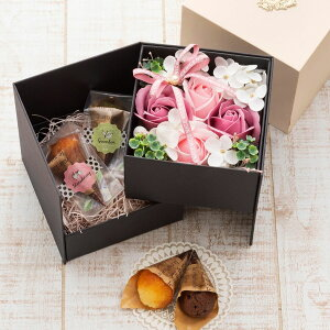 母の日 プレゼント ギフト スイーツ 2020 送料無料 焼菓子 ソープフラワー フラワーソープ 花 フィナンシェ ボックスフラワー フィナンシェ4個入り