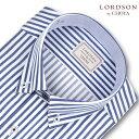 LORDSON by CHOYA 長袖 ワイシャツ メンズ 春夏秋冬 形態安定加工 ブルーロンドンストライプ ショートボタンダウンシ…