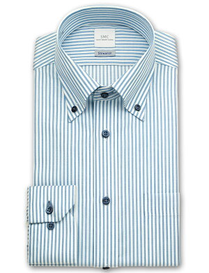 SHIRTMAKERCHOYAShiwanon長袖ワイシャツメンズ春夏秋冬形態安定加工ブルーのロンドンストライプボタンダウンシャツ 綿:50%ポリエステル:50%ブルー(cmd340-450)