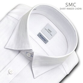 SHIRT MAKER CHOYA Shiwanon 長袖 ワイシャツ メンズ 春夏秋冬 形態安定加工 白ドビーのクラスターストライプ スナップダウンシャツ 綿:50% ポリエステル:50% ホワイト(cmd342-200)(200124des)