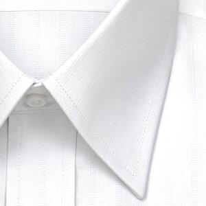 ELLEHOMME長袖ワイシャツメンズ春夏秋形態安定涼感素材ゆったり白ドビーストライプレギュラーカラー|綿:50%ポリエステル:43%レーヨン:7%ホワイト(zed382-200)