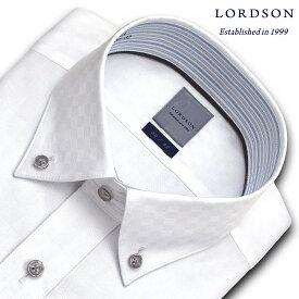 LORDSON 長袖 ワイシャツ メンズ 春夏秋冬 形態安定加工 ブロックチェックの白ドビー ショートボタンダウンシャツ|綿:100% ホワイト(zod395-200)