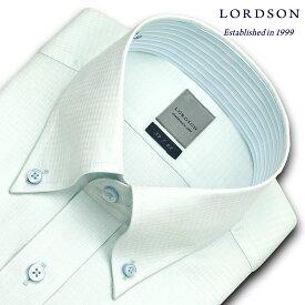 LORDSON 長袖 ワイシャツ メンズ 春夏秋冬 形態安定加工 グリーンの千鳥柄ドビー ボタンダウンシャツ|綿:100% グリーン(zod395-240)(sa1)