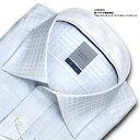 LORDSON 長袖 ワイシャツ メンズ 綿100% 形態安定加工 標準体 ブルードビーチェック ワイドカラーシャツ (ドレスシ…