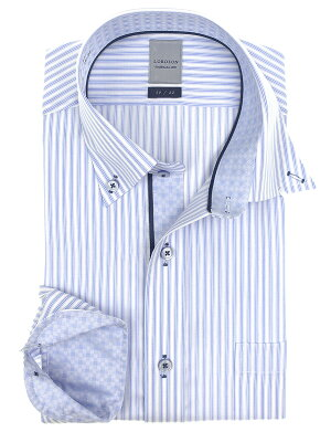 LORDSON長袖ワイシャツメンズ春夏秋冬形態安定加工ブルーストライプボタンダウンシャツ|綿:100%ブルー(zod907-450)
