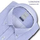 LORDSON 長袖 ワイシャツ メンズ 春夏秋冬 形態安定加工 ブルーペンシルストライプ ボタンダウンシャツ 綿:100% ブル…