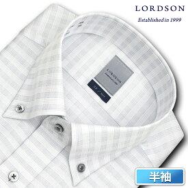 LORDSON 半袖 ワイシャツ メンズ 夏 形態安定加工 吸水速乾 グレーチェック ボタンダウン ドレスシャツ|綿:100% グレー(zon611-680)(201204ssn)