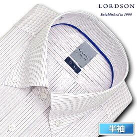 LORDSON 半袖 ワイシャツ メンズ 夏 形態安定加工 吸水速乾 マルチカラーピンストライプ ボタンダウン ドレスシャツ 綿:100% レッド ブルー ピンク(zon613-310)