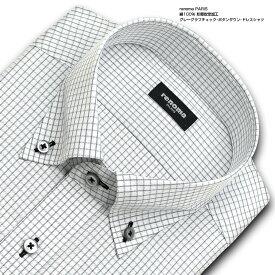 renoma PARIS 長袖 ワイシャツ メンズ 春夏秋冬 グレーのグラフチェック ボタンダウン   綿:100% ホワイト 形態安定加工 高級 上質 (zrd882-680)
