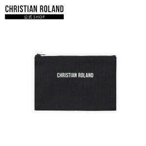 【公式】クリスチャンローランド CHRISTIAN ROLAND POUCH (DENIM) ロゴ入り ポーチ マスクケース デニム 縦13cm x 横20cm
