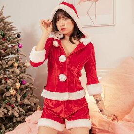 サンタ コスプレ サンタクロース パンツ フード クリスマス サンタコス セット 大人 セクシー レディース コスチューム コスチューム一式 サンタクロース 衣装 仮装 あす楽 可愛い 男ウケ ハロウィン コスプレ コス