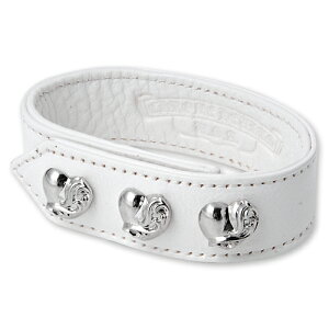 【CHROME HEARTS クロムハーツ Bracelet ブレスレット】3ボタン2スナップレザーブレスレットw/ハートボタン/ホワイト【送料無料】