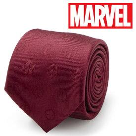 ◎メンズ 紳士 ネクタイ シルク Various Licensed Deadpool Maroon Tie マーベル MV-DDPL-RD-TR デッドプール ロゴ マロンカラー えんじ色