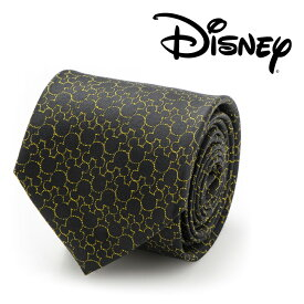 ◎ネクタイ シルク Various Licensed Mickey's 90th Anniversary Compact Silhouette Men's Tie ディズニー ミッキーマウス アニバーサリー シルエット ブラック ゴールド DN-M90-BK-TR