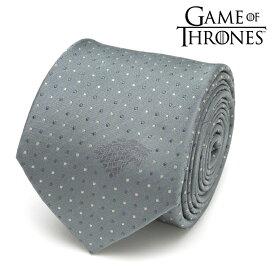◎ネクタイ メンズ 紳士 シルク Game of Thrones ゲーム・オブ・スローンズ Stark Direwolf Sigil Men's Tie スターク家 ダイアウルフ紋章 ワンポイント&ドット柄 GOT ブルー グレー