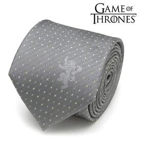 ◎ネクタイ メンズ 紳士 シルク Game of Thrones ゲーム・オブ・スローンズ Lannister Lion Sigil Men's Tie ラニスター家 黄金の獅子紋章 ワンポイント&ドット柄 GOT グレー シルバー