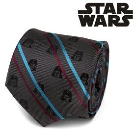 ネクタイ メンズ 紳士 シルク Darth Vader Black Striped Men's Tie スターウォーズ ダースベイダー ブルー&レッド ストライプ SW-VDR-STP-BK-TR グレー