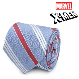 ネクタイ メンズ 紳士 シルク X-Men Symbol Blue Men's Tie マーベル エックスメン シンボル ストライプ MV-XMN-STP-BL-TR ブルー レッド
