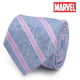 ネクタイ メンズ 紳士 シルク Marvel Comics Blue and Pink Stripe Silk Men's Tie マーベル キャラクター アイコン モチーフ ロゴ ストライプ MV-ICON-TR ブルー ピンク