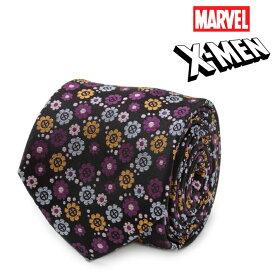ネクタイ メンズ 紳士 シルク X-Men Floral Charcoal Men's Tie マーベル エックスメン シンボル 花柄 フローラル MV-XMN-FLR-CHR-TR パープル ブラック