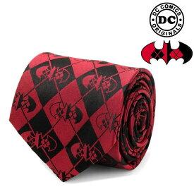 ネクタイ メンズ 紳士 シルク DC Harley Quinn Batman Tie バットマン ハーレークイン ロゴ 格子柄 DC-TG-HRQN-TR レッド ブラック