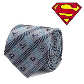 ネクタイ メンズ 紳士 シルク DC Superman Gray Plaid Tie スーパーマン ロゴ 格子柄 DC-SMPLD-GRYB-TR グレー ブルー ネイビー