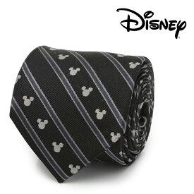 ネクタイ メンズ 紳士 シルク Mickey Mouse Stripe Black Men's Tie ミッキー マウス ストライプ ブラック DN-MST-BK-TR