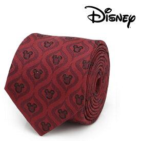 ネクタイ メンズ 紳士 シルク Mickey Mouse Holiday Metallic Black Silk Men's Tie ディズニー ミッキー ホリデー メタリック ブラック ラインシルエット ワインレッド DN-MHDP-MB-TR
