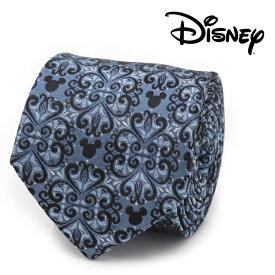 ネクタイ メンズ 紳士 シルク Mickey Mouse Damask Tile Blue Men's Tie ディズニー ミッキー ダマスク柄 ブルー DN-MMMT-BL-TR