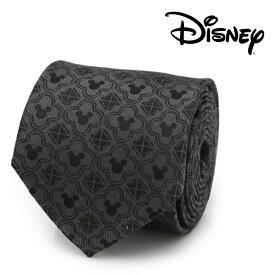 ネクタイ メンズ 紳士 シルク Mickey Mouse Pattern Black Men's Tie ディズニー ミッキー シルエット クローバー ブラック グレー DN-MMP-BK-TR