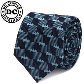 ◎メンズ 紳士 ネクタイ シルク Various Licensed Batman Navy Tie バットマン バットロゴ バットシグナル DCロゴ チェック柄 ネイビー DC-BCHK-BL-TR