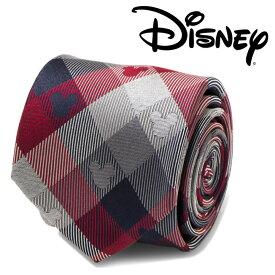 ◎メンズ 紳士 ネクタイ シルク Various Licensed Mickey Mouse Redand Blue Plaid Mens Tie ミッキーマウス ディズニー ミッキーマーク シルエット ブルー チェック 格子柄 DN-MPLD-RWB-TR