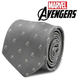 ◎メンズ 紳士 ネクタイ シルク Avengers Gray Mens Tie アベンジャーズ ロゴ グレー マーベル MV-AVNGR-GRY-TR