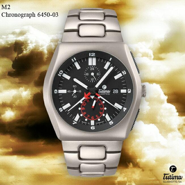 TUTIMA GLASHUTTE チュチマ・グラスヒュッテ M2 Chronograph 6450-03【送料無料】【メンズ】【腕時計】【ミリタリーウォッチ】
