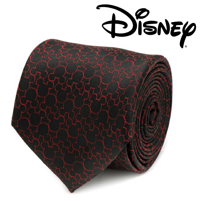 メンズ 紳士 ネクタイ シルク Various Licensed Mickey Mouse Black Tie ミッキー マウス ディズニー ミッキーマーク シルエット レッド ブラック DN-MTON-BK-TR
