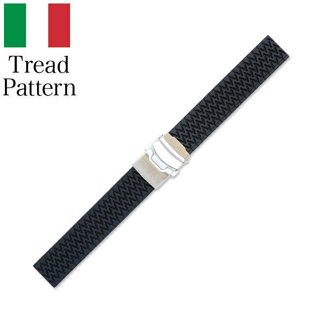 時計 腕時計 ベルト 時計バンド イタリア BC ボネットシンチュリーニ トレッドパターン ラバー素材 ストラップ 20mm 18mm ブラック