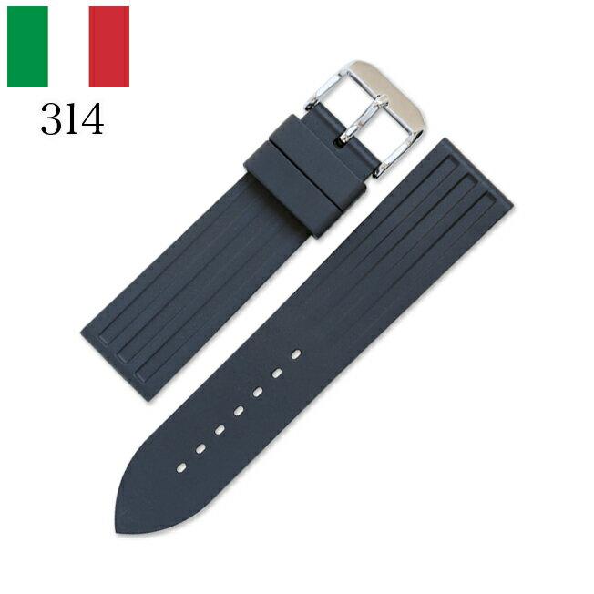 時計 腕時計 ベルト 時計バンド イタリア BC ボネットシンチュリーニ 314 ラバー素材 ストラップ 22mm ブラック