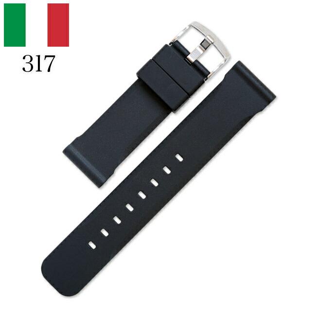 時計 腕時計 ベルト 時計バンド イタリア BC ボネットシンチュリーニ 317 ラバー素材 ストラップ 22mm 24mm ブラック