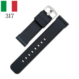 バネ棒付き 時計 ベルト 腕時計 イタリア BC ボネットシンチュリーニ 317 ラバー素材 ストラップ ダイバーズ 22mm 24mm ブラック