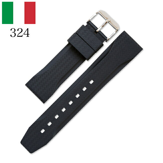 時計 腕時計 ベルト 時計バンド イタリア BC ボネットシンチュリーニ 324 ラバー素材 ストラップ 22mm ブラック