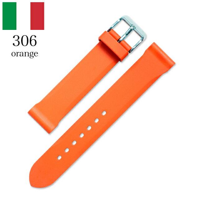 時計 腕時計 ベルト 時計バンド イタリア BC ボネットシンチュリーニ 306 ラバー素材 ストラップ 20mm カスタムオレンジ