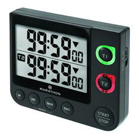 MARATHON デュアルタイマー 2連デジタルタイマー 音と光でお知らせ 消音可 電池付 TI030017 マラソン クロック