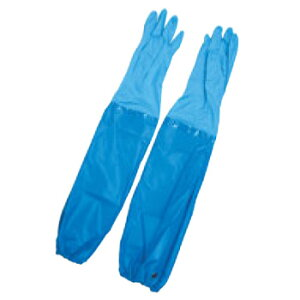 エステー ニトリル耐油薄手手袋 腕カバー付 No.360 L ブルー【手袋】【ゴム手袋】【耐油手袋】